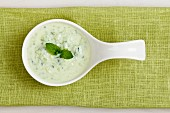 Bowl of Chilled Cucumber Soup with Mint