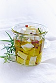 Feta cheese preserved in oil