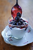 A quark dessert with blueberries