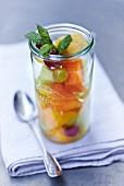 Fruit salad in a storage jar