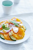 Marinated orange slices with cucumber and feta