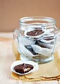 Mini almond butter & chocolate cakes in a storage jar
