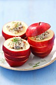 Herring & apple salad in hollowed-out apples