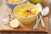 Corn Chowder (sweetcorn soup, USA), with potatoes, pancetta and dill