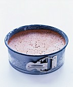Chocolate ice cream in a spring-form cake tin