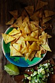 Tortilla chips with jalapeño salsa