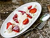 Vanilla custard with strawberry and meringue