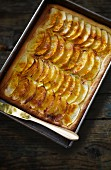 Apple tart cooked in a baking tin