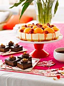 Peach Melba cheesecake and chocolate mousse squares for Christmass