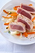 Seared tuna on fennel and carrots