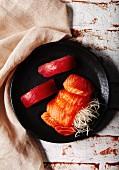 Tuna nigiri and salmon sashimi