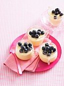 White mousse au chocolat with lemon curd and blueberries