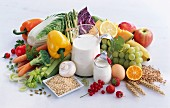 Healthy foods: vegetables, grains, milk, yoghurt, eggs and fruit
