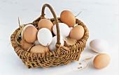 weiße und braune Eier im Korb
