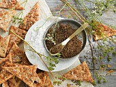 Caraway crackers with sea salt, caraway and caraway plants