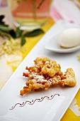 Deep-fried elderflowers with elderflower sorbet