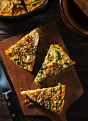 Broccoli Rabe and Potato Frittata on a Cutting Board