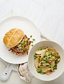 Barbecue Pork Sandwich with Asian Slaw
