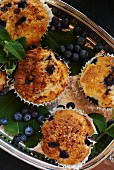 Blueberry Muffins on a Silver Tray