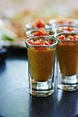 Gazpacho in shot glasses
