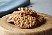 Peanut biscuits on a wooden plate