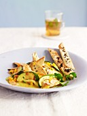 North African-style chicken breast with courgette, dried apricots and flaked almons