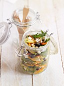 Penne pasta salad with rocket and ewe's cheese