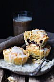 Puff pastry pies with sour cherry jam and flaked almonds