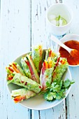 Rice paper rolls filled with vegetables and served with sweet & sour sauce
