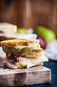 Grilled Cheese Made with Granny Smith Apples, White Cheddar Chesse and Dijon Mustard
