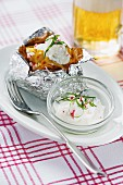 Potatoes baked in foil, with radish quark