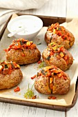 Baked potatoes with meat stew