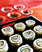 Platter of Sushi with Chopsticks