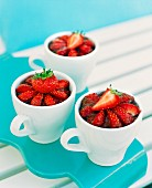 Strawberry desserts in coffee cups