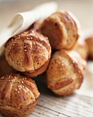 Home-made bread rolls with sesame seeds