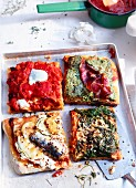 Tray-baked pizza with pesto rosso and four assorted toppings