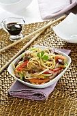 Fried noodles with beef and vegetables (Asian)