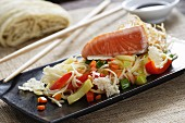 Noodles with vegetables and salmon fillet (Asia)