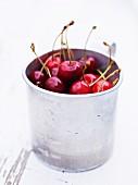 Cherries in metal container