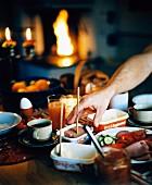 Breakfast set on a table.