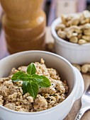 Vegetarian cottage cheese made from cashew nuts.