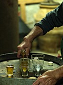 Italy, Tuscany, man pouring white wine into shot glass