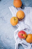 Apricots on a blue wooden slab