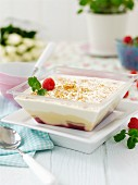Trifle with raspberries, sherry and mint