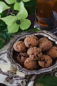 Apricot ginger bites with cocoa nibs and tea
