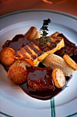 Lamb with grilled goose liver