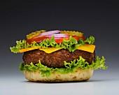 Cheeseburger mit fehlender Brötchenhälfte