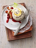 Trout custard with apple and cranberry jam