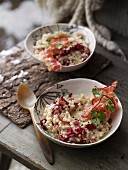 Pearl barley risotto with bacon and red endive