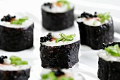 Salmon sushi and caviar roe